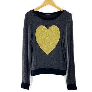 NEW Wildfox Gray Gold Glitter Heart Sweater Small